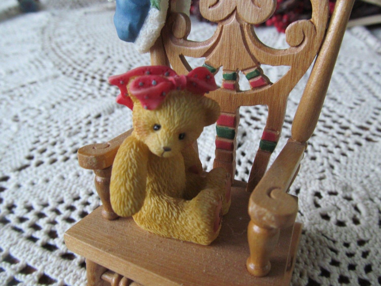 Little Teddy In Big Wood Rocker Wood Rocking Chair With Sweet