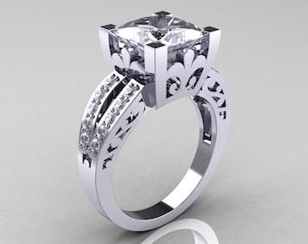 French Vintage 14K White Gold 3.8 Carat Princess White Sapphire Diamond Solitaire Ring R222-WGDWS