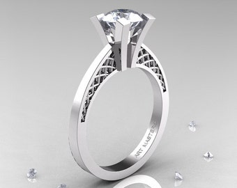 Modern Armenian 14K White Gold Lace 1.0 Ct Cubic Zirconia Solitaire Engagement Ring R308-14KWGCZ