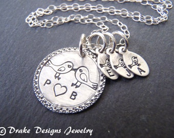Family initial necklace with kids initials sterling silver