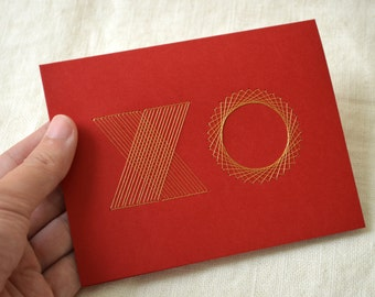 XO Valentine Card - Hand Embroidered Typography in Gold or White on Red