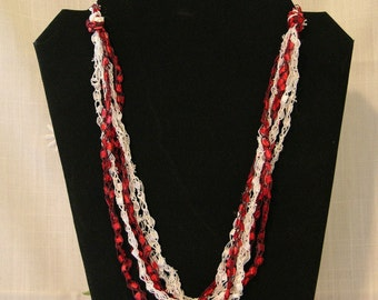 Red and While Candy-Cane Crochet Ladder Yarn Necklace