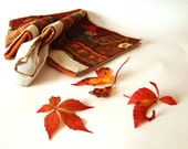 "Hand sewn cake carrier - 16"" x 16"" Owls, autumn colors - Stonesfantasies"
