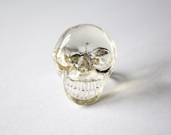 Funky Clear Crystal Skull on Silver adjustable ring perfect for Halloween or any rock metal fan