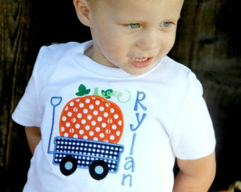 Fall Pumpkin Wagon Appliqued Shirt - Embroidered Shirt, Personalized Shirt, Fall, Pumpkin, Boys, Girls, Children's Personalized Shirt