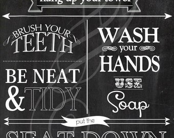 11X17 Bathroom Rules Print