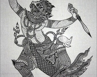 Thai traditional art of Hanuman by silkscreen printing on Natural colors cloth.