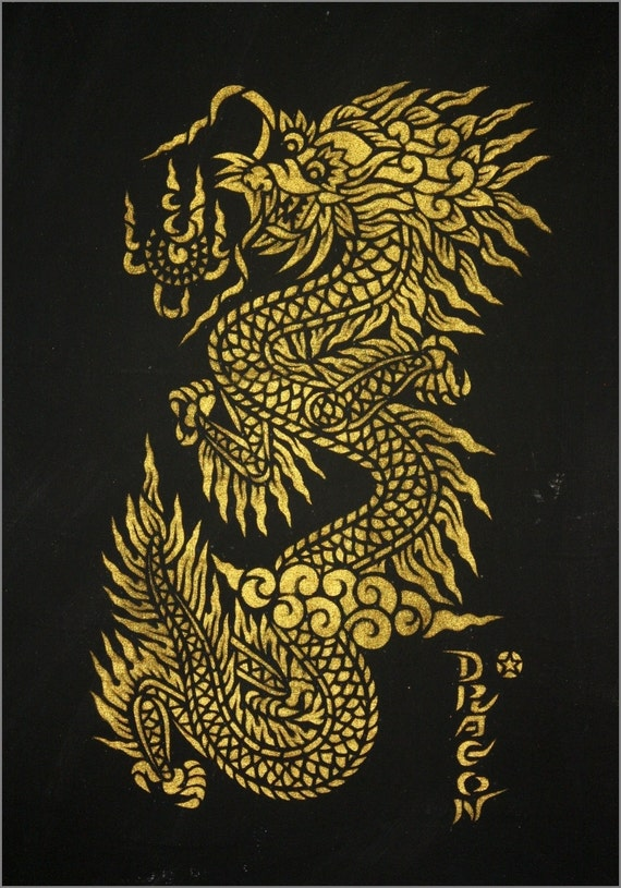 Thai Design Wallpaper : Items similar to thai traditional stencil art of dargon by