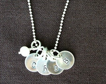 Mother's Necklace Jewelry - Sterling Silver Hand Stamped Personazlied Round Initial Charm Discs on Sterling Chain -4 Children's Initials