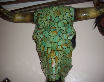 Steer Head Covered with Chunks of Turquoise