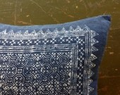 INDIGO and cotton BATIK handmade CUSHION cover 16x16 blue
