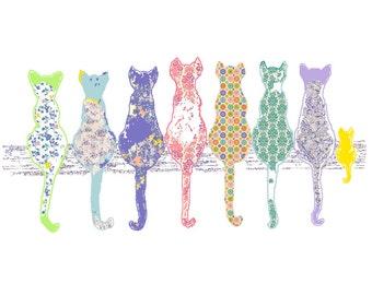 cat nursery art, children's art, cat art, baby girl nursery decor cat decor girl wall art nursery wall art nursery prints baby animal print