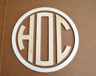 "24"" Wooden Circle Monogram with Border, Boy Monogram"