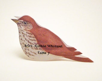 Bird Place Card - Wood Thrush - Unique - Wedding Place Card - Event Escort Card - Customized - Wood Thrush