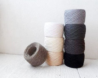 Linen Yarn collection in Black White and Grey