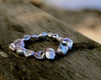 silver grey baroque pearl bracelet, large baroque pearl  bracelet