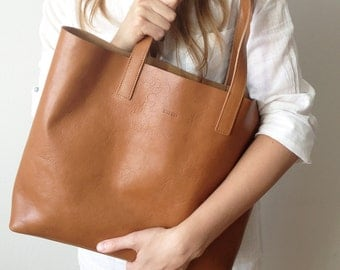 MIVO - Medium Light Brown Leather Tote, Honey, leather tote, Leather bag, Tote, bag