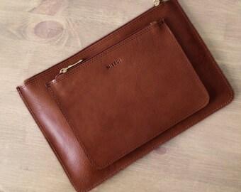 Set of 2 // Brown Clutches, Leather purse, ipad mini