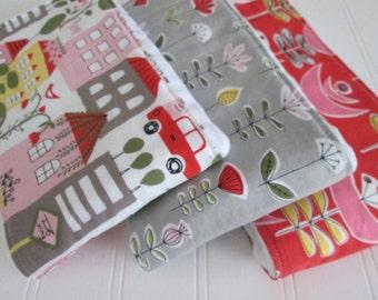 Baby Burp Cloth Set, Organic Burp Cloths, Set of 3, Monaluna, City Life, Garden, Cloth Diaper Burp Cloths