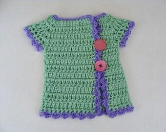 Crochet Baby Girl Sweater Green Kimono Style