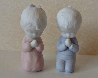 Vintage Praying Girl & Boy Figurines