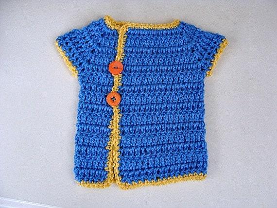 Crochet Baby Sweater Blue Kimono Style
