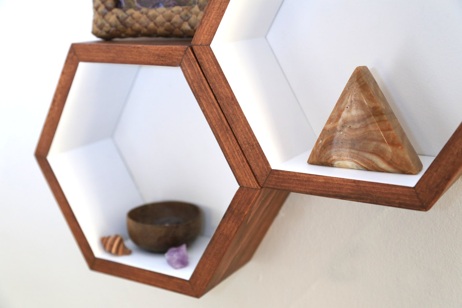 Wood Floating Shelves Honeycomb Cubby Shelves By