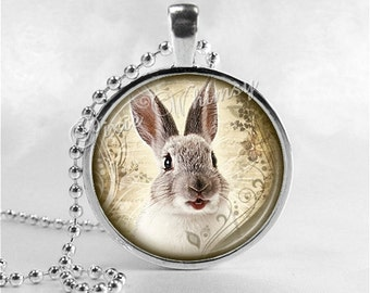 RABBIT Necklace, Rabbit Pendant, Rabbit Jewelry, Rabbit Charm, Photo Art Glass Necklace Pendant Charm, Bunny