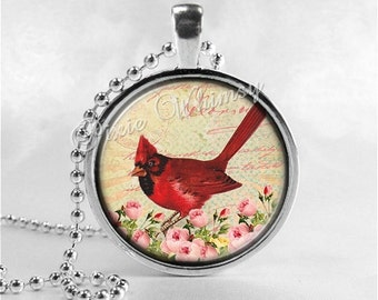 CARDINAL Necklace, Cardinal Bird Necklace, Cardinal Jewelry, Red Bird, Cardinal Charm. Glass Photo Art Necklace, Bird Necklace