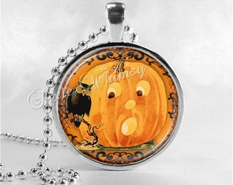 VINTAGE HALLOWEEN Necklace, VIntage Jack O Lantern Necklace, Jack O Lanterns, JOL, Owl, Pumpkin Patch, Glass Art Necklace, Halloween Jewelry