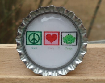 Peace Love Frogs Bottle Cap Pin