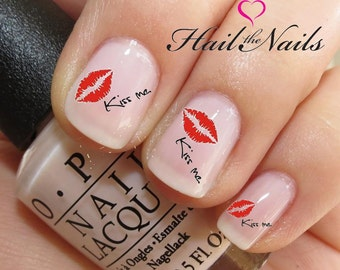 Nail Art Water Transfer Decal Red Lips 'kiss me' Y134