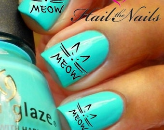 Nail WRAPS Nail Art Water Transfers Decals - Black Meow Foxy Cat Y144