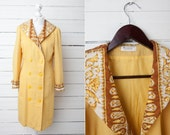 Vintage Jacket Dress / Pale Yellow Women Midi Length Wool Summer Gown / Double Breasted Trench Coat  / Small S / Women Long Summer Jacket