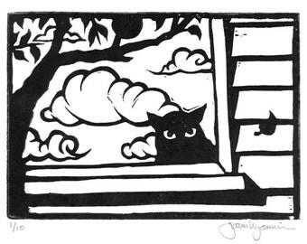 Discontented Cat Original Block Print