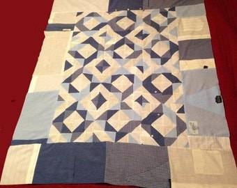 Papa Bob's Dress Shirt Quilt 2 *Pattern* - Quilt made from 6 men's dress shirts