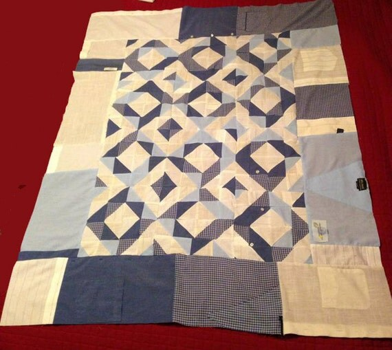 Quilt Patterns From Men S Shirts : Papa Bob s Dress Shirt Quilt 2 Pattern Quilt made from
