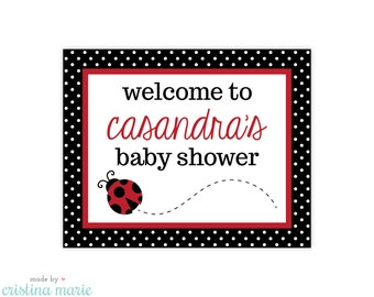 ladybug baby shower, ladybug party, personalized sign, printable