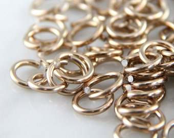 16 ga 1/4, 150 Champagne Anodized Aluminum Chainmail Jump Rings