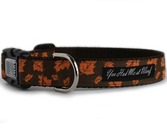 Fall Dog Collar with Orange Leaves, Autumn Colors, Brown, Thanksgiving Dog Collar, 1 Inch - Autumn Leaves