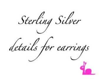 Sterling silver details for earrings