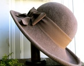 Vintage Brown Wool Fedora Hat - Felt - Accessories Fall Wardrobe Boho Bohemian women's - LemonRoseStudio