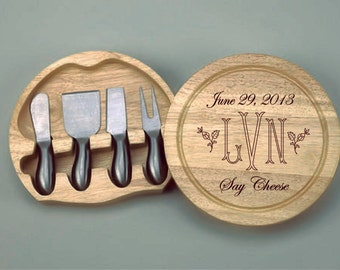 Personalized Round Wood Cheese Board w/4 Pc SS Handled Utensils