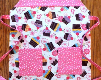 Girl's Reversible Apron with Cupcakes and Jellybeans
