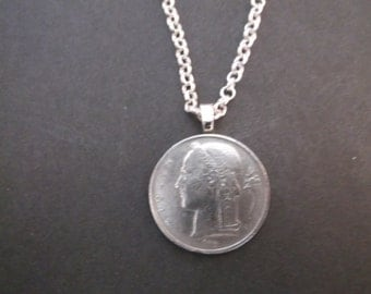 Belgium 5 FR Coin Necklace - Belgium Coin Pendant  dated 1949 Belgium Coin Necklace with Bail and Chain