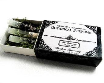 Botanical Perfume Oil Sampler, The Charming Triplet Set. Three Natural Perfume Oil Sample Vials. Pick Your Potion.