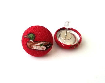 Small red duck hunting fabric button earrings
