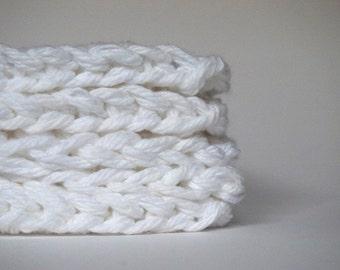 hand knit plushy cotton scrubbies in snow white