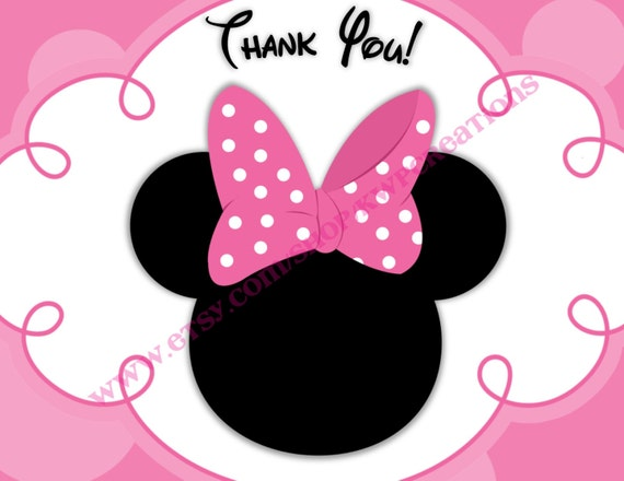 Minnie Mouse Head Thank You Cards - Printable Digital File - PDF ...