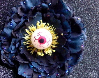 Eyeball Hair Flower - Glow in the Dark - Blue and Black with Swarovski Crystals